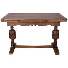 English Solid Oak Draw-Leaf Refectory Trestle Plank Table