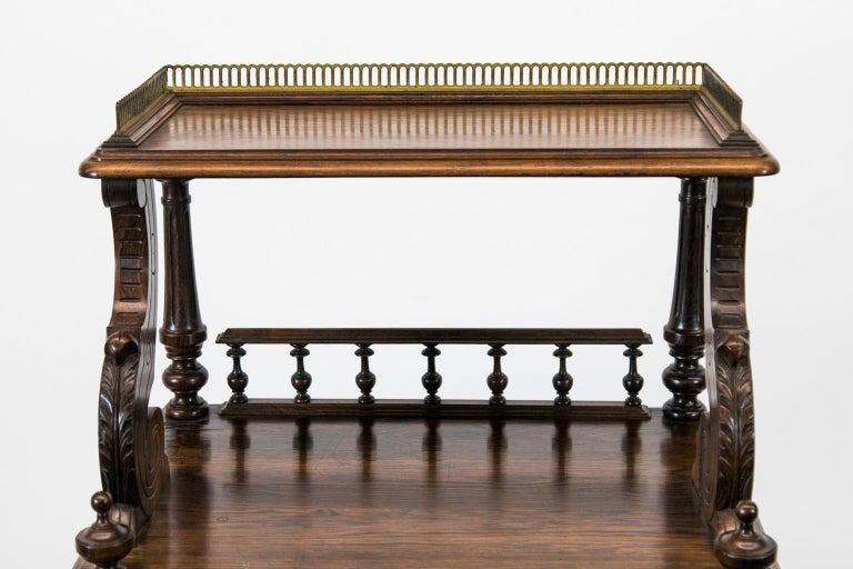 English Solid Rosewood Four-Tiered Shelf For Sale 5