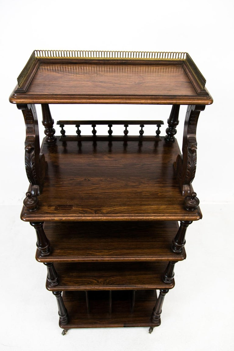 English Solid Rosewood Four-Tiered Shelf In Good Condition For Sale In Wilson, NC