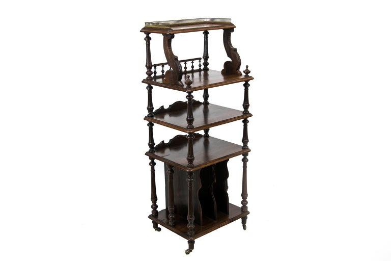 Mid-19th Century English Solid Rosewood Four-Tiered Shelf For Sale
