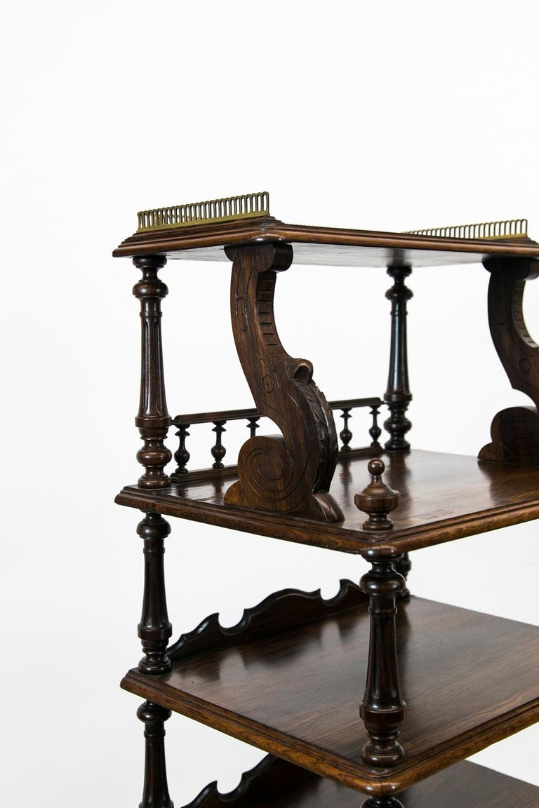 Brass English Solid Rosewood Four-Tiered Shelf For Sale