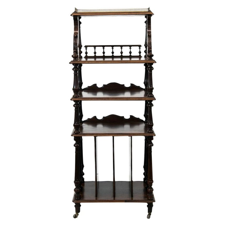 English Solid Rosewood Four-Tiered Shelf For Sale