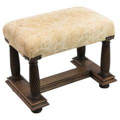 English Spiral Carved Stretcher Base Bench