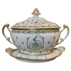 English Sprig Tureen by Chamberlain Worcester, Marked, Nemo Fidelier, circa 1810