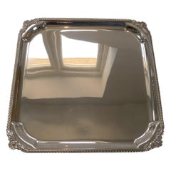 English Square Silver Plate Cocktail Tray / Serving Salver, c.1930