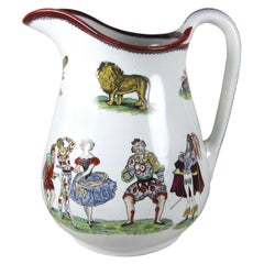 English Staffordshire Ironstone Elsmore & Forster Harlequin Theater Jug