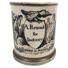 English Staffordshire Pottery Child's Cup a Reward for Industry