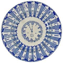 English Staffordshire Transferware Child's ABC Clock Teaching Plate, Blue