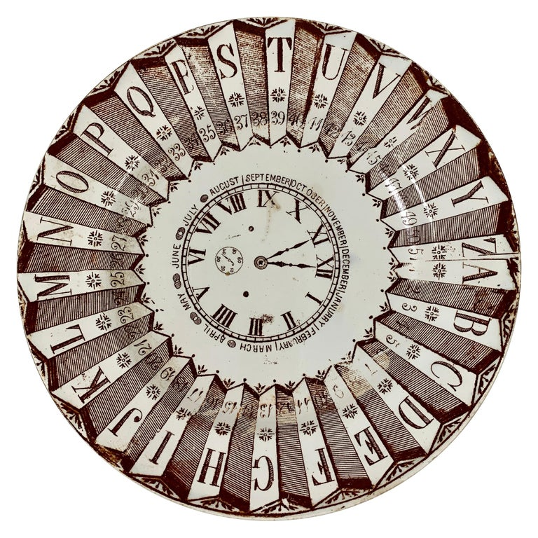 English Staffordshire Transferware Child's ABC Clock Teaching Plate, Brown For Sale