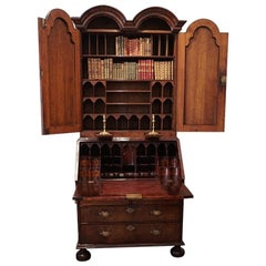 English Stately Home Queen Anne Walnut Bureau Bookcase, circa 1705