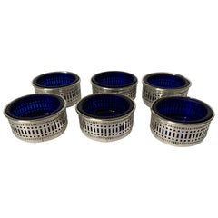 English Sterling Silver and Cobalt Glass Salt Cellars, Set of 6