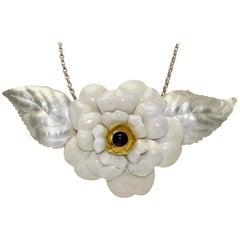 English Sterling & Enamel Flower Necklace, London, 1978