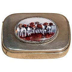 English Sterling Matchsafe with Enameled Fox Hounds, London, 1881