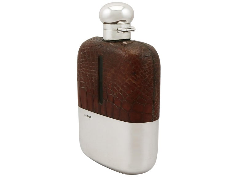 English Sterling Silver and Crocodile Skin Hip Flask, 1920s For Sale 6