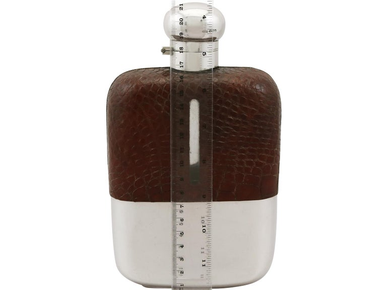 English Sterling Silver and Crocodile Skin Hip Flask, 1920s For Sale 4
