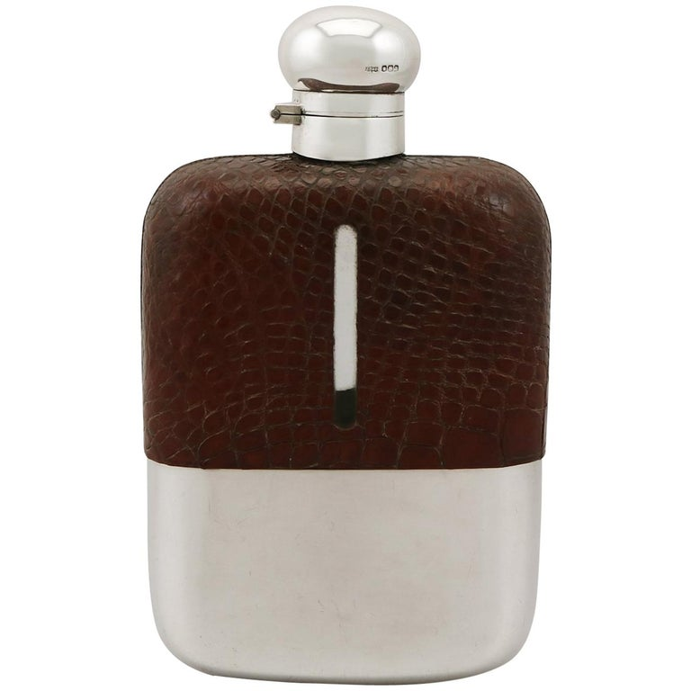 English Sterling Silver and Crocodile Skin Hip Flask, 1920s For Sale