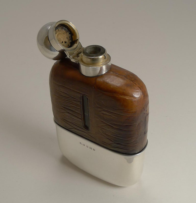 English Sterling Silver and Crocodile Skin Hip Flask, 1929 For Sale 1