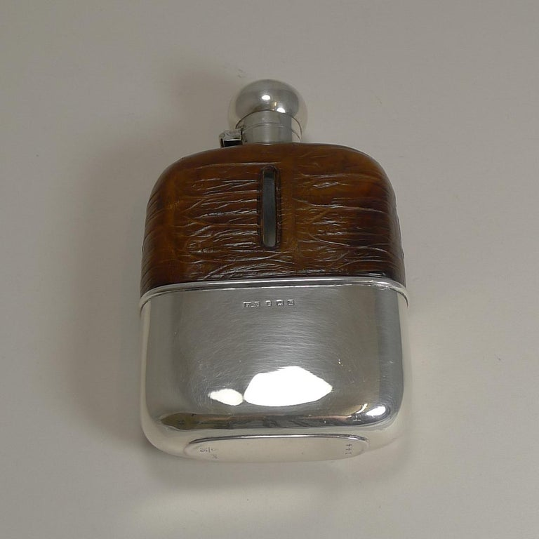English Sterling Silver and Crocodile Skin Hip Flask, 1929 For Sale 3