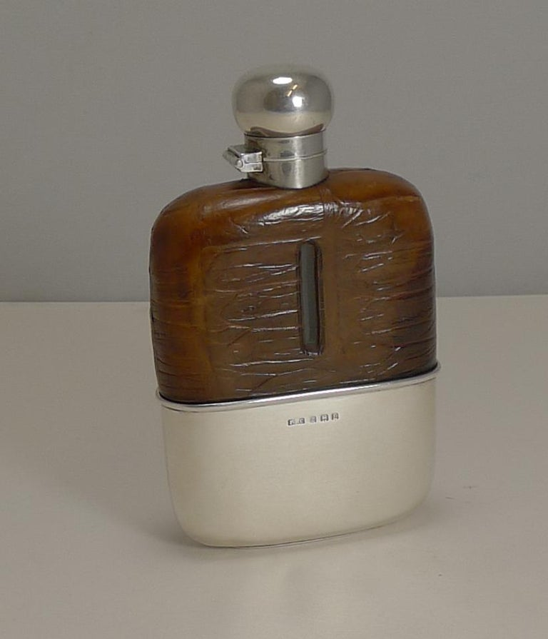 English Sterling Silver and Crocodile Skin Hip Flask, 1929 For Sale 4