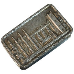 English Sterling Silver Castle Top Snuff or Pill Box
