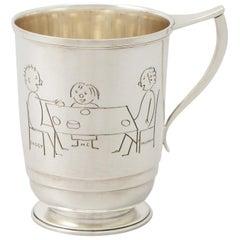 English Sterling Silver Christening Mug, Antique George VI