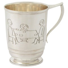 English Sterling Silver Christening Mug, Antique George VI