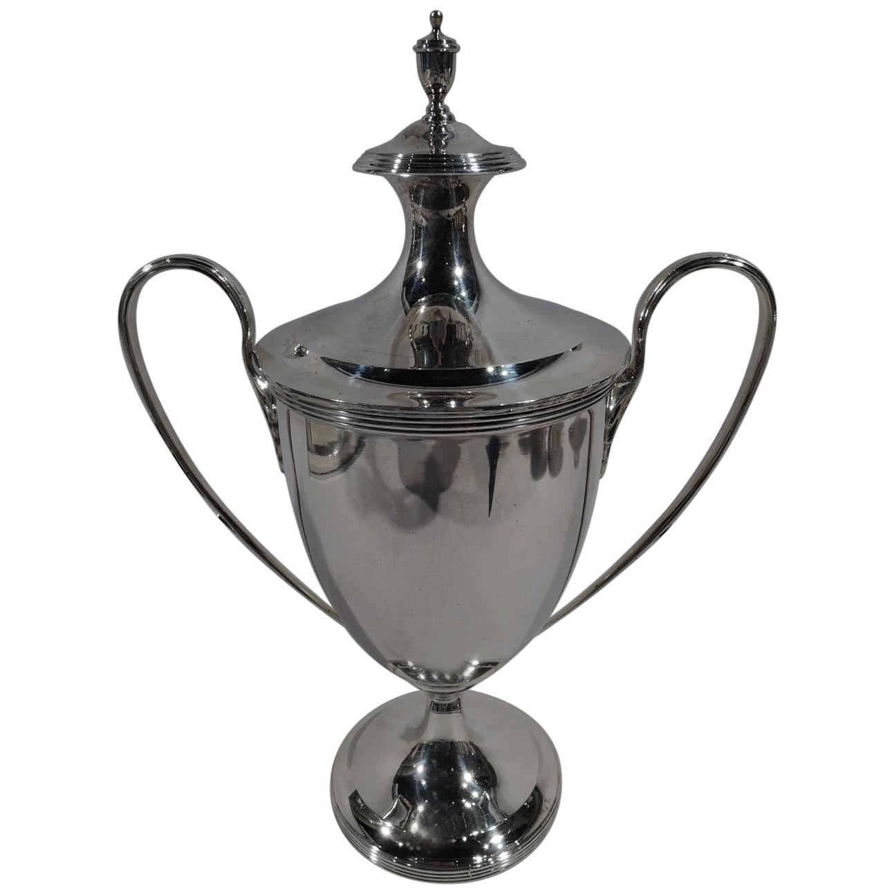 English Sterling Silver Classical Covered Urn Trophy Cup
