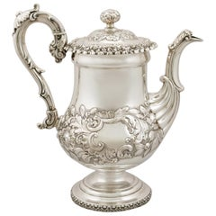 English Sterling Silver Coffee Pot, Antique George IV