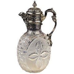 English Sterling Silver & Cut Glass Caret Jug, William Comyns London, circa 1898