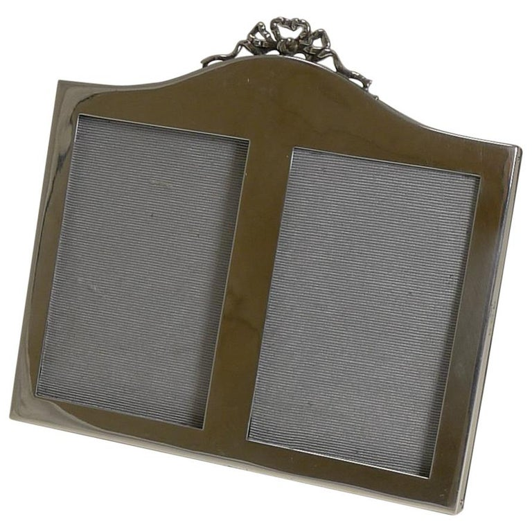English Sterling Silver Double Photograph / Picture Frame, 1921 For Sale