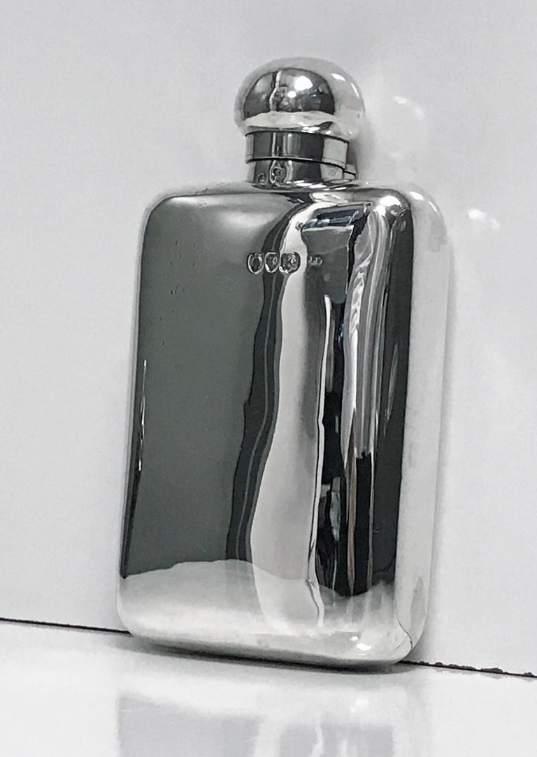 19th Century English Sterling Silver Flask, London 1891 W and G Neal For Sale