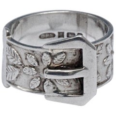 English Sterling Silver Flower and Leaf Buckle Ring 1970s