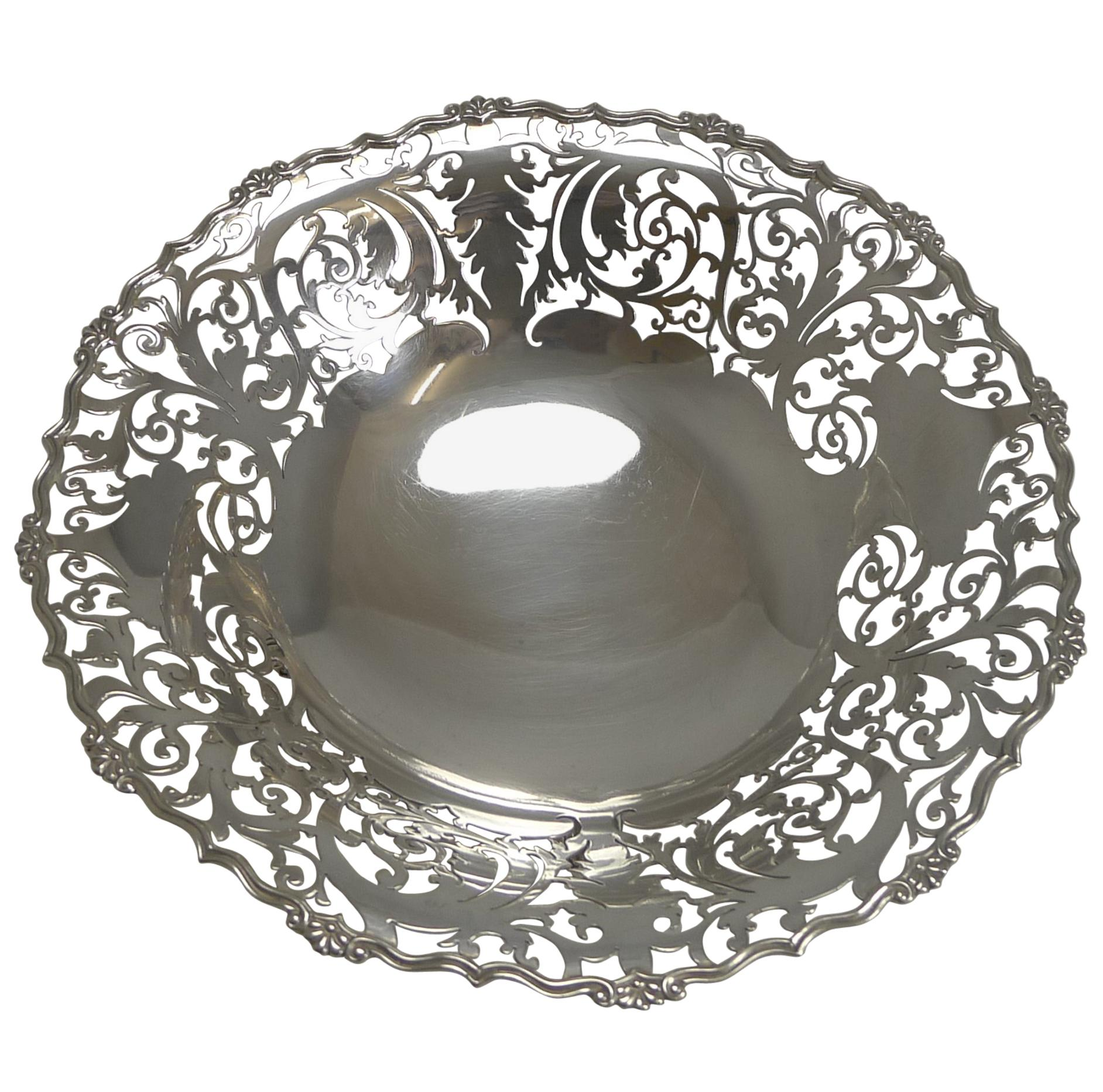 English Sterling Silver Fruit Basket or Dish by Mappin and Webb, 1929