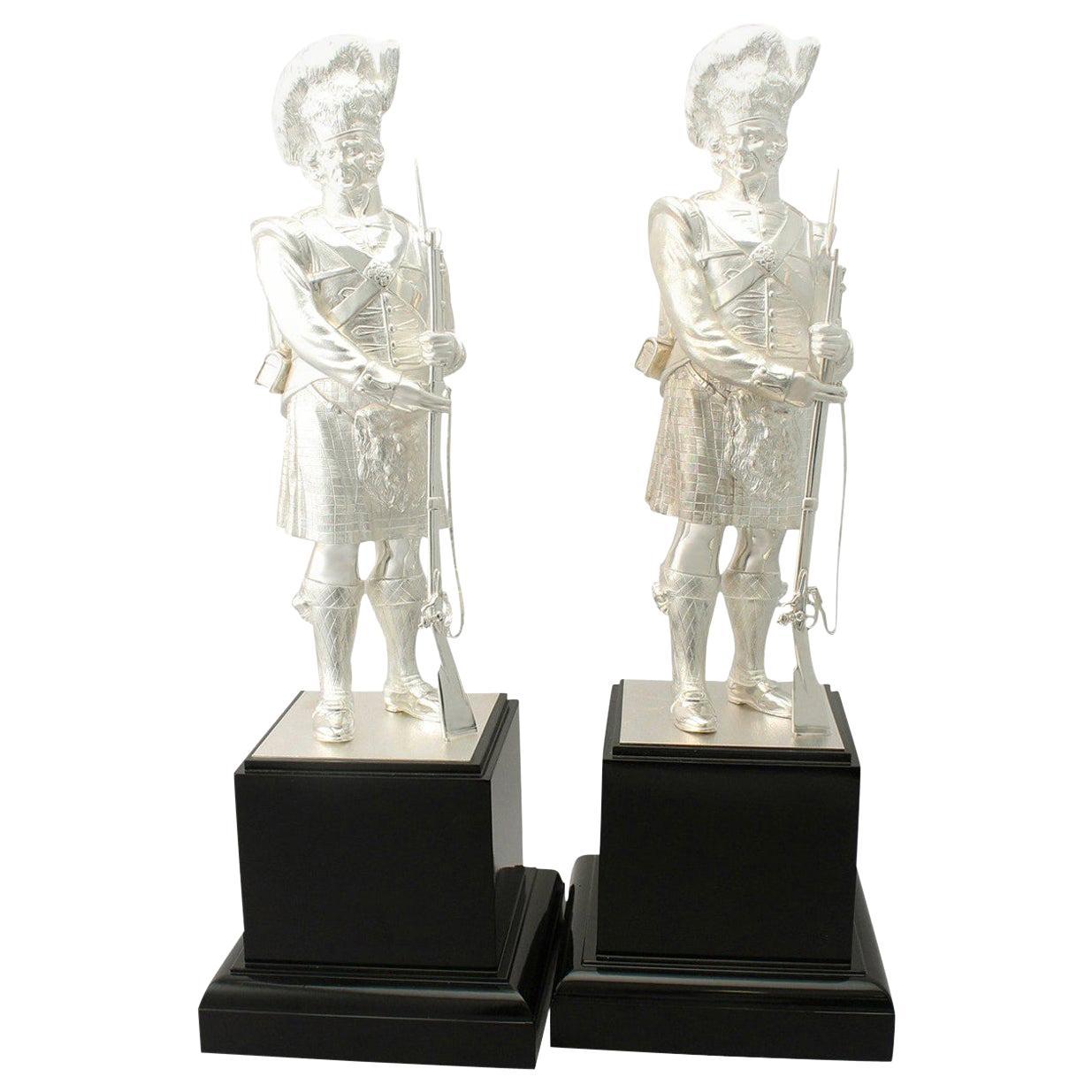 English Sterling Silver 'Gordon Highlanders' Table Ornaments