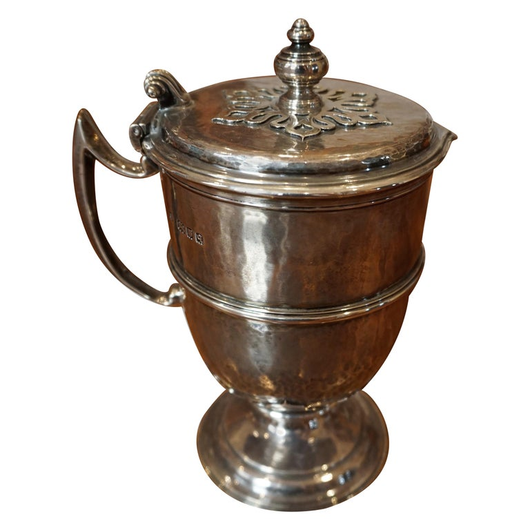 English Sterling Silver Lidded Cup after the Maundy Ewer For Sale