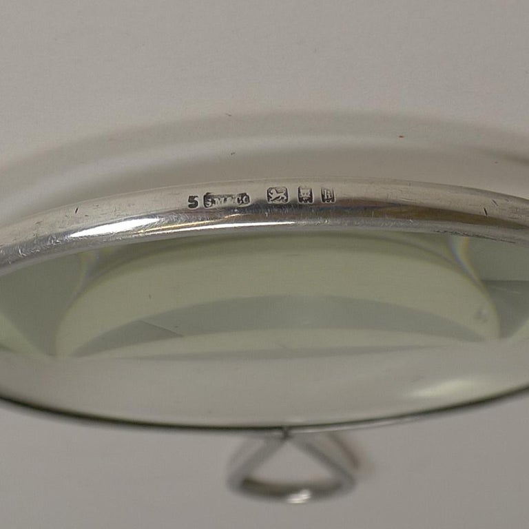 English Sterling Silver Magnifying Glass by Sampson Mordan, 1925 For Sale 2
