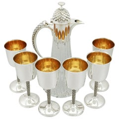 English Sterling Silver Mounted Glass Claret Jug and Matching Goblets