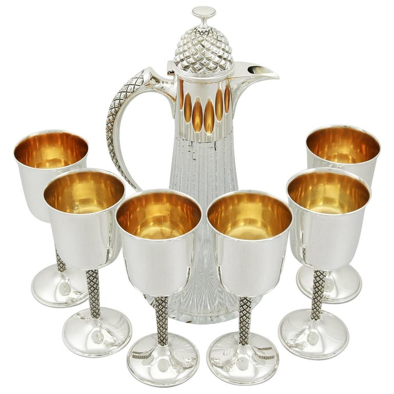 English Sterling Silver Mounted Glass Claret Jug and Matching Goblets For Sale