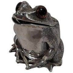 English Sterling Silver Novelty Frog Mustard Pot by Richard Comyns