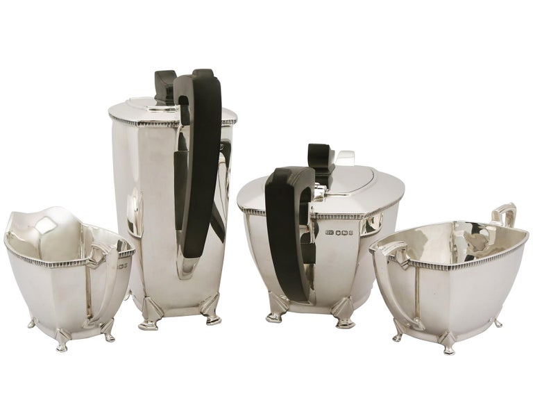 Art Deco English Sterling Silver Tea and Coffee Service For Sale