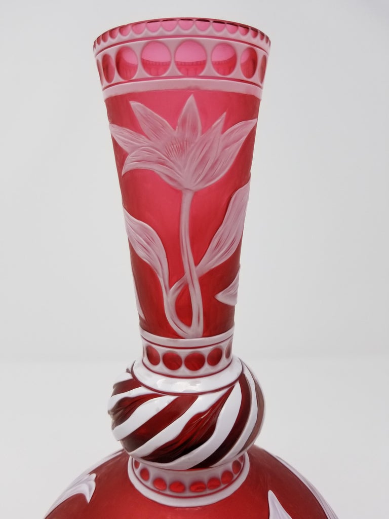 Hand-Carved English Stevens & Williams Cameo Overlay Glass Vase by J. Millward, Birks Museum For Sale