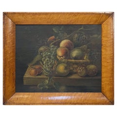 English Still Life Oil Painting of Fruit Basket with Maple Frame