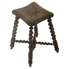 English Stool, Twisted Legs, 19th Century, Brown Color