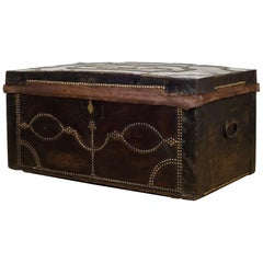 English Studded Leather and Oak Document Chest, circa 1910-1936