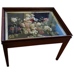 English Stumpwork Flower Painting Mounted as a Table, circa 1840-1850