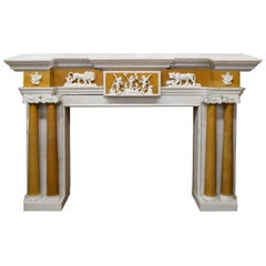 English Style Carved Marble Fireplace Mantel