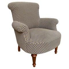 English Style Club Chair Geometric Fabric