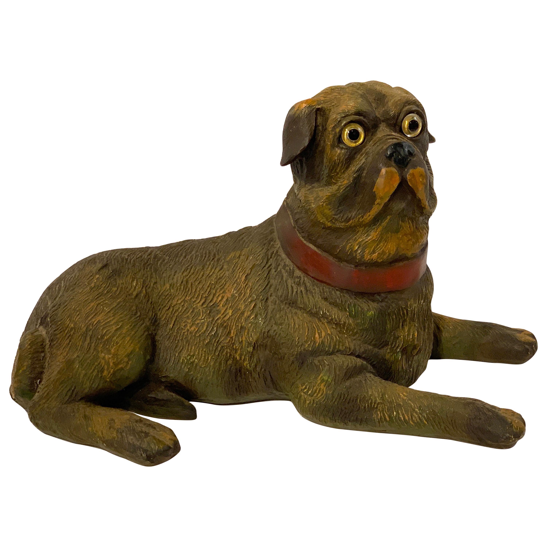 English Style Recumbent Pug Dog with Glass Eyes