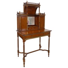 English Style Secretary Made of Walnut and with Secret Compartments