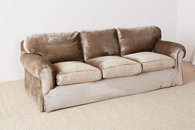 Fine English Style Three Seat Velvet Sofa At 1Stdibs Gmtry Best Dining Table And Chair Ideas Images Gmtryco